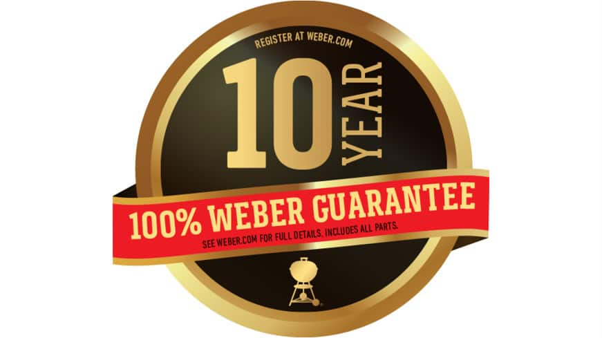10 year Warranty on all parts of the grill