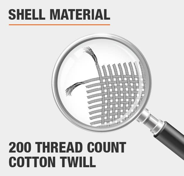 Shell Material 200 Thread Count Cotton Twill
