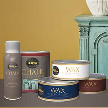 BEHR Designer Collection Chalk Paints and Wax product family shown with a dresser painted to a green chalk finish