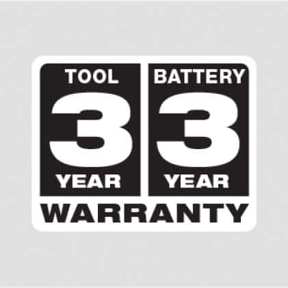3 Year Tool Warranty, 3 Year Battery Warranty