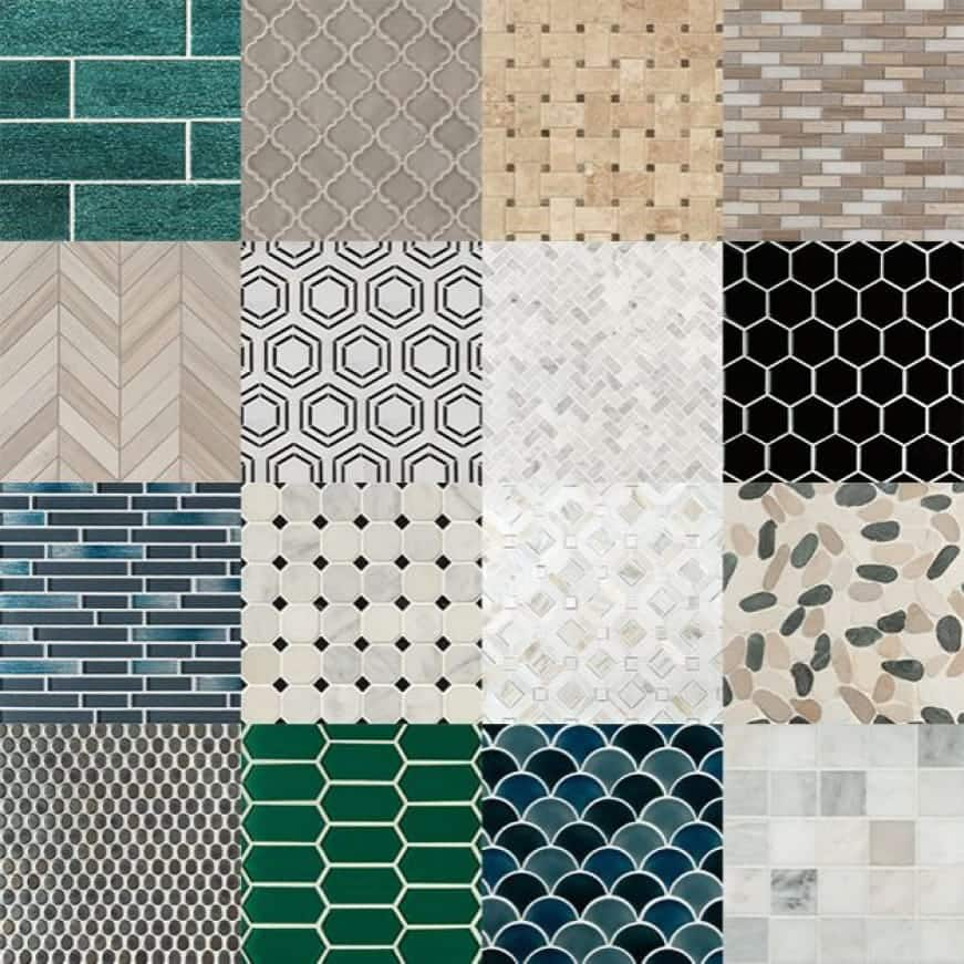 A graphic showing the various available shapes and colors in our mosaic assortment.