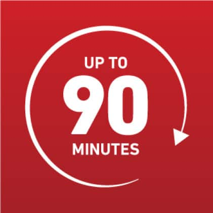 Up to 90 minutes icon