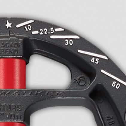 Iron conduit bender includes key reference angles on shoe: 30, 45, and 60 degrees