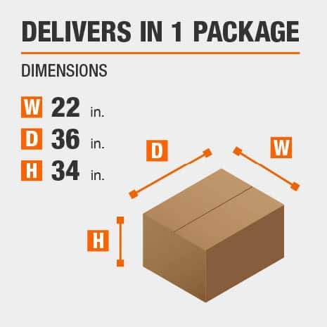 Delivers in 1 Package with the Dimensions of 22 inches wide, 36 inches deep, 34 inches high.