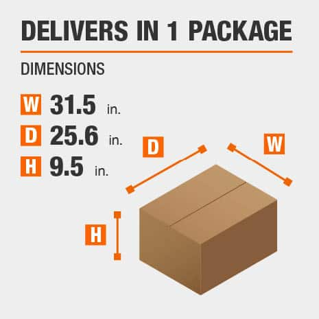 Delivers in 1 Package with the Dimensions of 31.5 inches wide, 25.6 inches deep, 9.5 inches high.