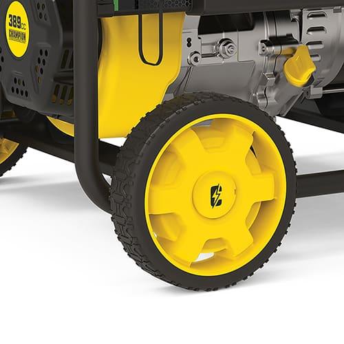 Closeup image of generator never flat tire