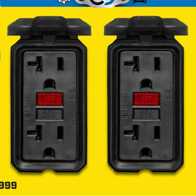Closeup image of four 120V 20A GFCI household outlets