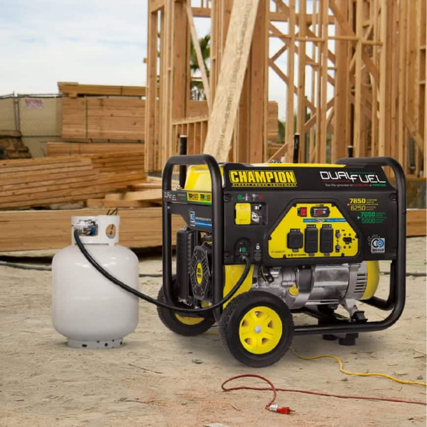 Lifestyle image of generator hooked up to a 20 lb. propane tank at a construction site