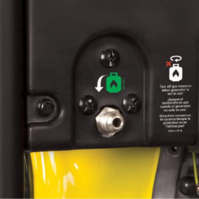 Closeup of inlet for included LPG cord