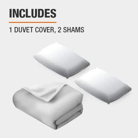 Set includes one duvet cover and two shams
