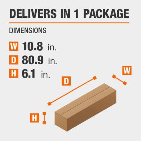 Delivers in 1 Package with Dimensions of 10.8 inches wide, 80.9 inches deep, 6.1 inches high.