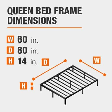 Black Metal Queen Bed frame with dimensions of 60 inches wide by 80 inches deep by 14 inches high.