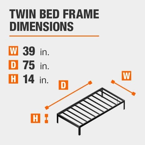 Black Metal Twin Bed Frame 39 In W X, How Large Is A Twin Bed Frame