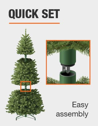 This tree features quick set and is easy to assemble