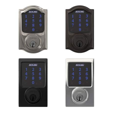 Schlage Connect shown with Camelot trim and Century trim in satin nickel, aged bronze, matte black and bright chrome finishes.