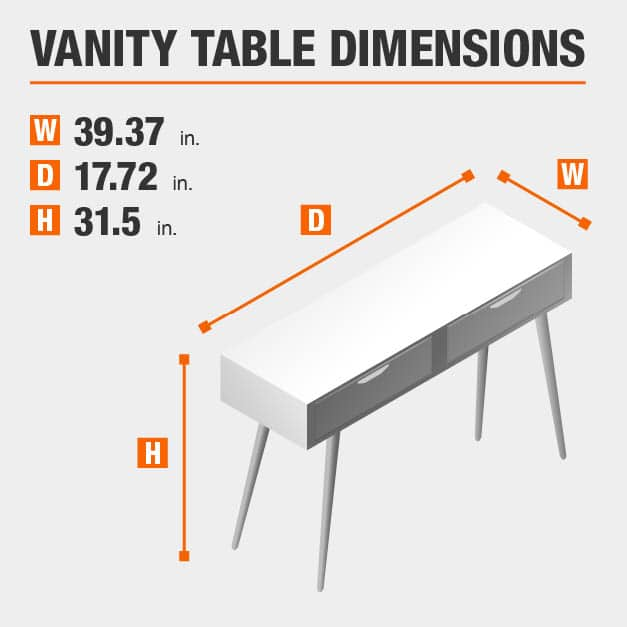 Vanity Table Dimensions of 39.37 inches wide, 17.72 inches deep, 31.5 inches high.
