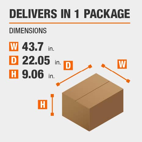 Delivers in 1 Package with the dimensions of 43.7 inches wide, 22.05 inches deep, 9.06 inches high.