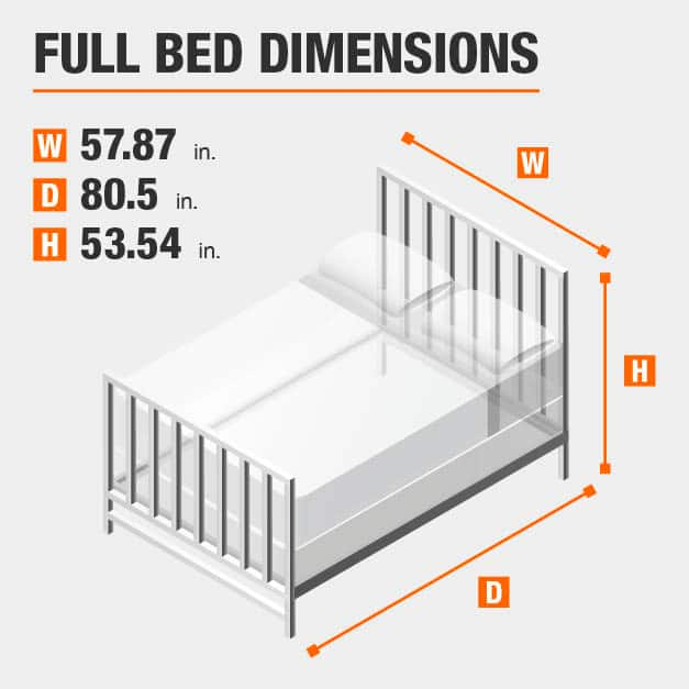 Full Bed Dimensions of 57.87 inches wide, 87.01 inches deep, 53.54 inches high.