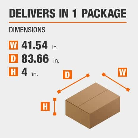 Delivers in 1 Package with the Dimensions of 41.54 inches wide, 83.66 inches deep, 4 inches high.