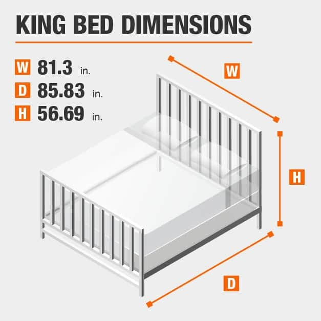 King Bed Dimensions of 81.3 inches wide, 85.83 inches deep, 56.69 inches high.
