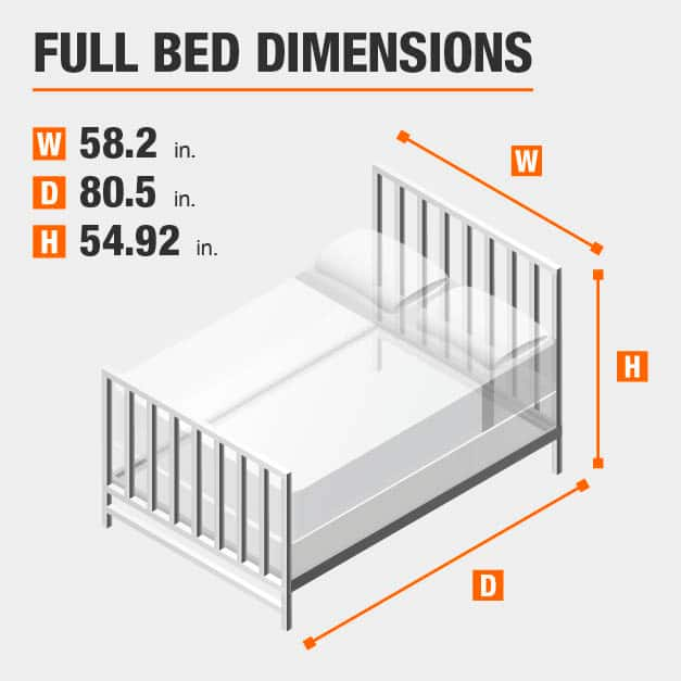 Full Bed Dimensions of 58.2 inches wide, 80.5 inches deep, 54.92 inches high.