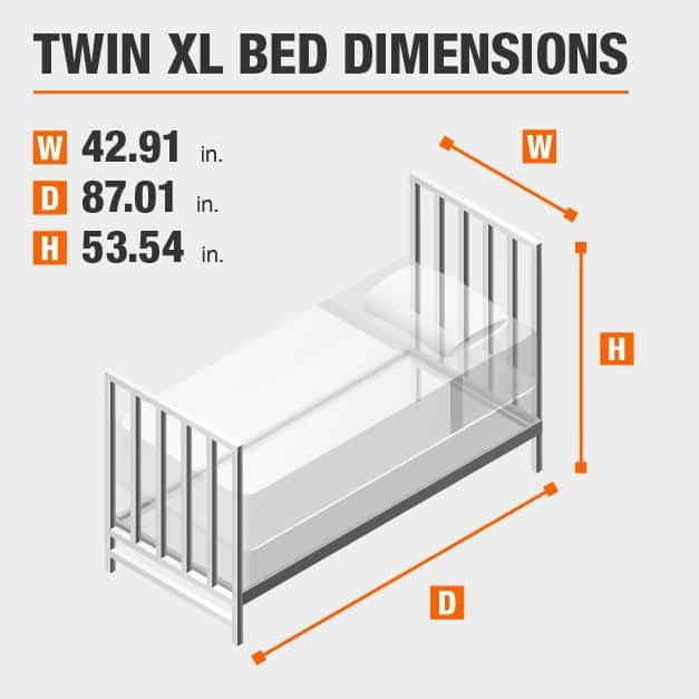 Twin XL Bed Dimensions of 42.91 inches wide, 87.01 inches deep, 53.54 inches high.