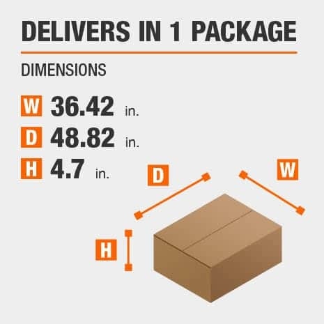 Delivers in 1 Package with the Dimensions of 36.42 inches wide, 48.82 inches deep, 4.7 inches high.