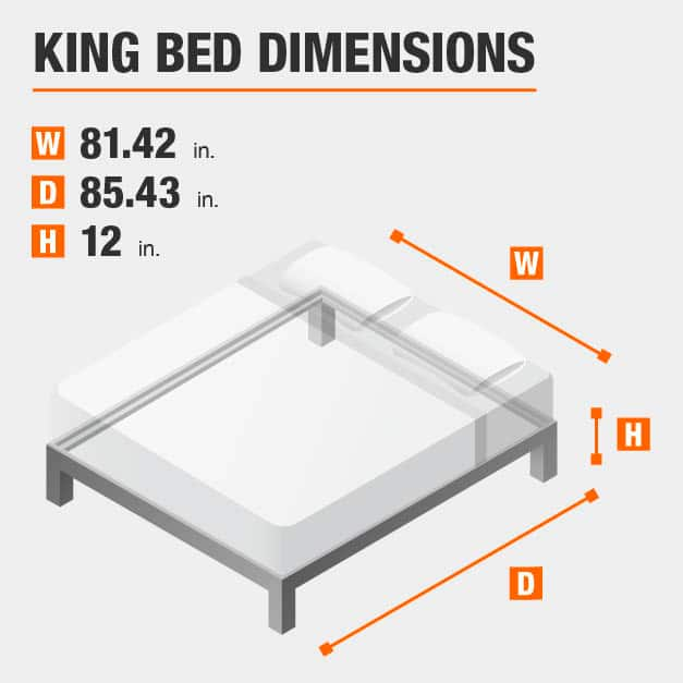 King Bed Dimensions of 81.42 inches wide, 85.43 inches deep, 12 inches high.