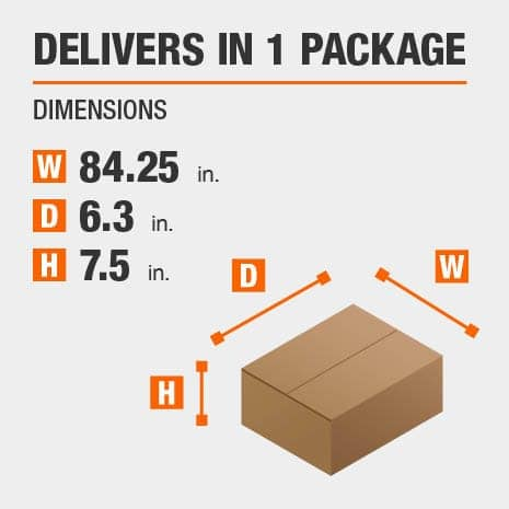 Delivers in 1 Package with the Dimensions of 84.25 inches wide, 6.3 inches deep, 7.5 inches high.