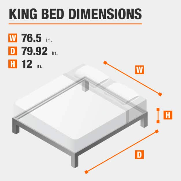 King Bed Dimensions of 76.5 inches wide, 79.92 inches deep, 12 inches high.