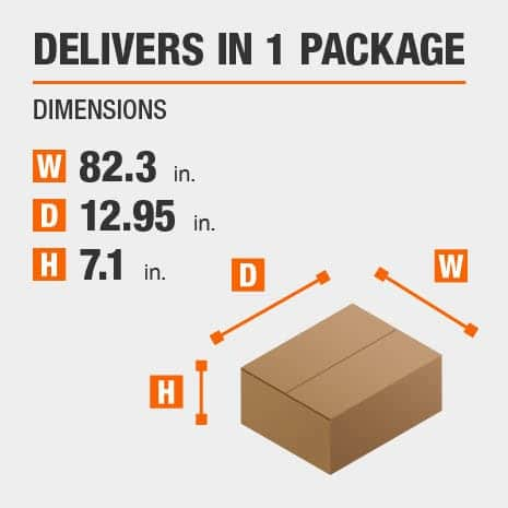 Delivers in 1 Package with the Dimensions of 82.3 inches wide, 12.95 inches deep, 7.1 inches high.