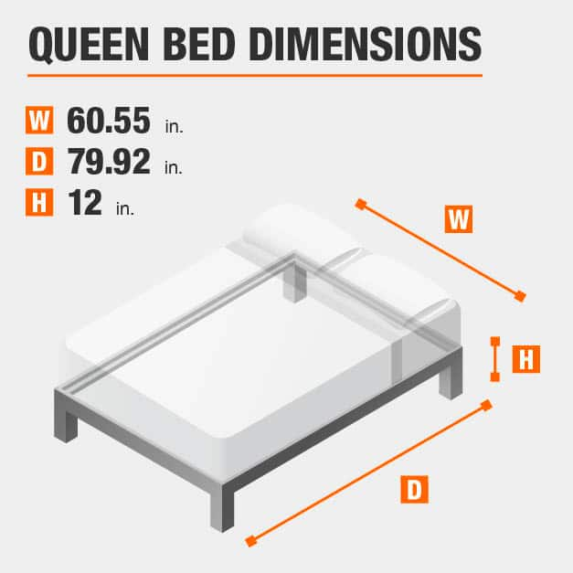 Queen Bed Dimensions of 60.55 inches wide, 79.92 inches deep, 12 inches high.