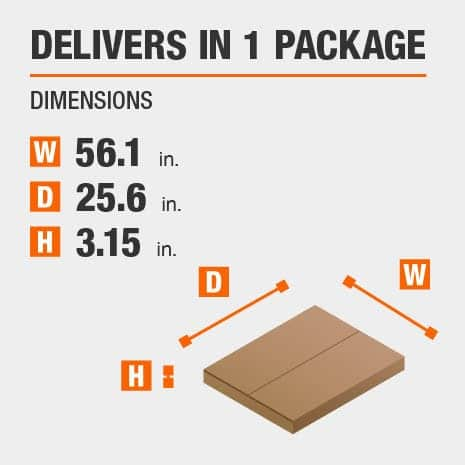 Delivers in 1 Package with the Dimensions of 56.1 inches wide, 25.6 inches deep, 3.15 inches high.