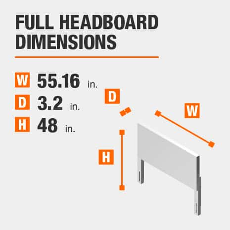 Full Headboard Dimensions of 55.16 inches wide, 3.2 inches deep, 48 inches high.