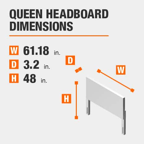 Queen Headboard Dimensions of 61.18 inches wide, 3.2 inches deep, 48 inches high.