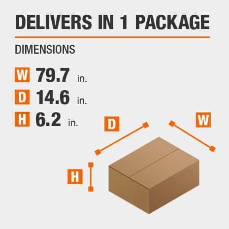 Delivers in 1 Package with the Dimensions of 79.7 inches wide, 14.6 inches deep, 6.2 inches high.
