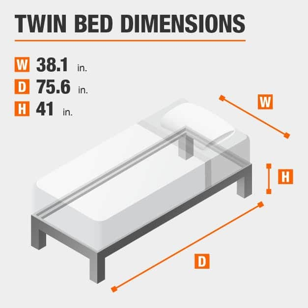 Twin Bed Dimensions of 38.1 inches wide, 75.6 inches deep, 41 inches high.