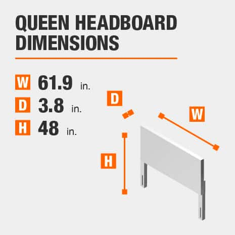 Queen Headboard Dimensions of 61.9 inches wide, 3.8 inches deep, 48 inches high.