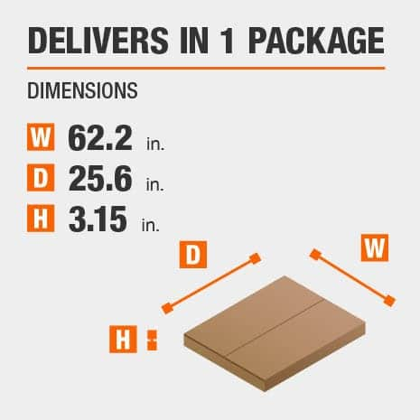 Delivers in 1 Package with the Dimensions of 62.2 inches wide, 25.6 inches deep, 3.15 inches high.