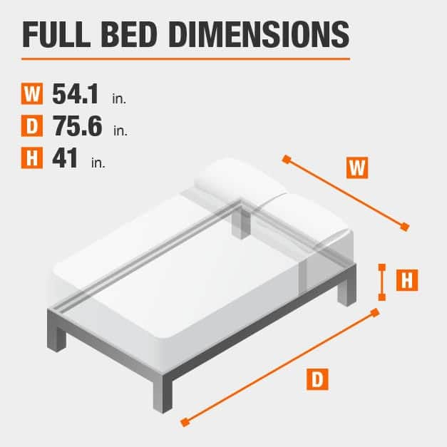 Full Bed Dimensions of 54.1 inches wide, 75.6 inches deep, 41 inches high.