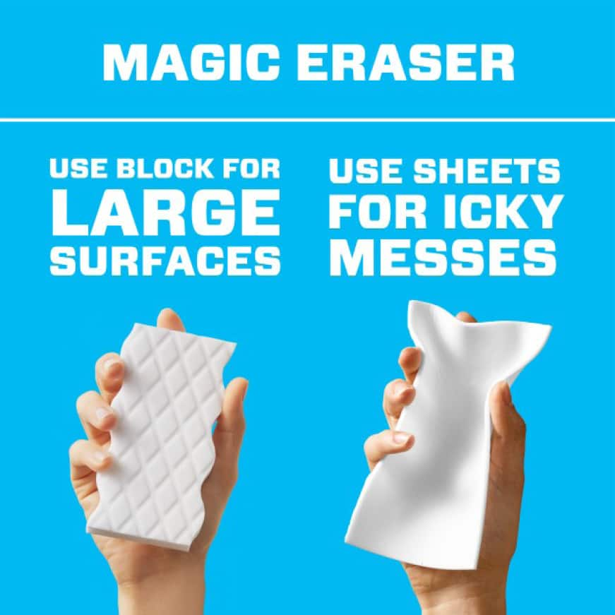 Use Mr. Clean block erasers for large surfaces and sheets for icky messes