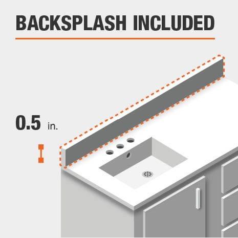 Bath vanity comes complete with a backsplash