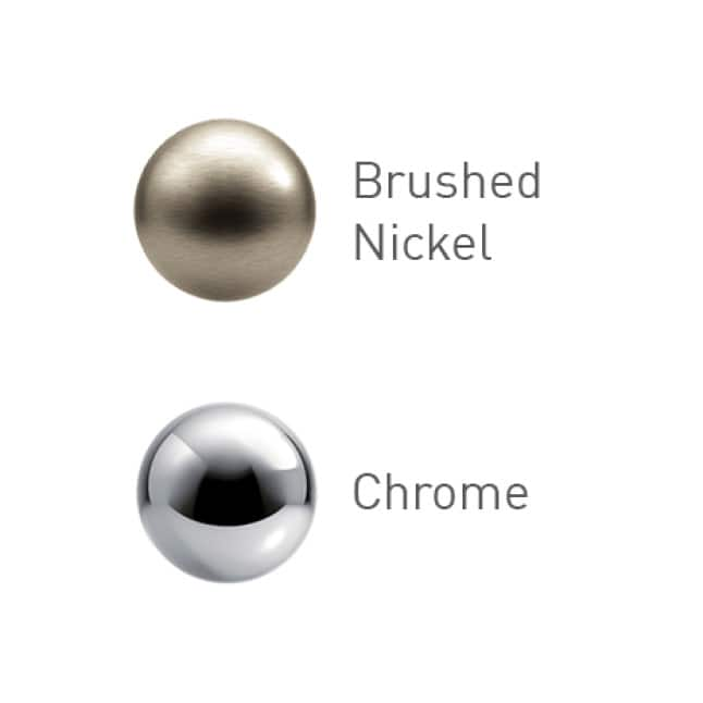 Two finishes to choose from: a highly reflective, bright metallic chrome for a classic look, and a warm, lightly brushed nickel for subtle touch.
