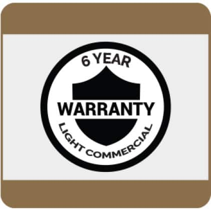 6-Year Light Commercial Warranty details available