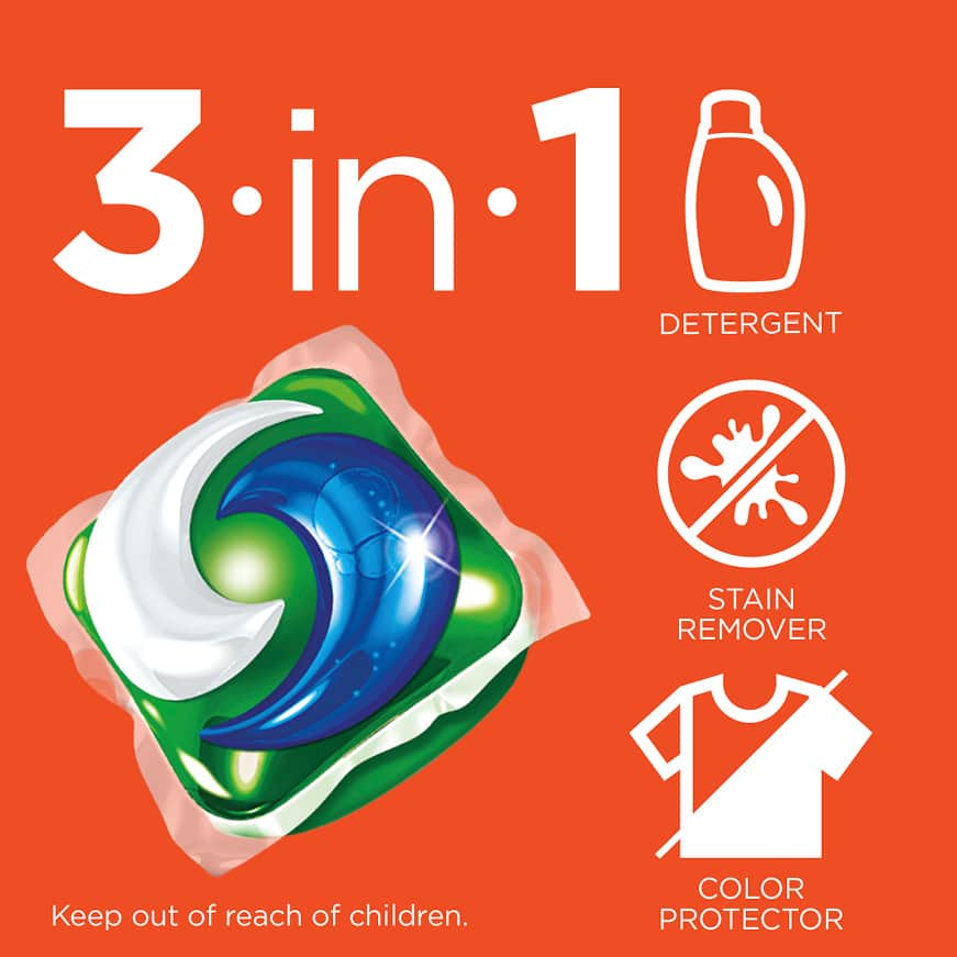 Tide PODs are a 3 in 1 detergent stain remover and color protector
