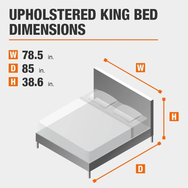 Upholstered King Bed Dimensions of 78.5 inches wide, 85 inches deep, 38.6 inches high.