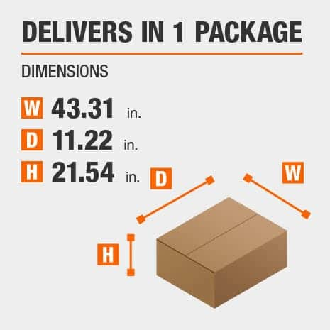 Delivers in 1 Package with the Dimensions of 43.31 inches wide, 11.22 inches deep, 21.54 inches high.