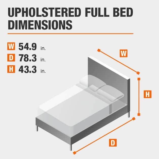 Upholstered Full Bed Dimensions of 54.9 inches wide, 78.3 inches deep, 43.3 inches high.