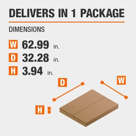 Delivers in 1 Package with the Dimensions of 62.99 inches wide, 32.28 inches deep, 3.94 inches high.