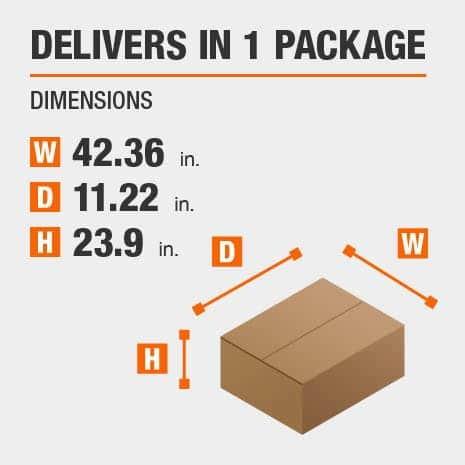 Delivers in 1 Package with the Dimensions of 42.36 inches wide, 11.22 inches deep, 23.9 inches high.